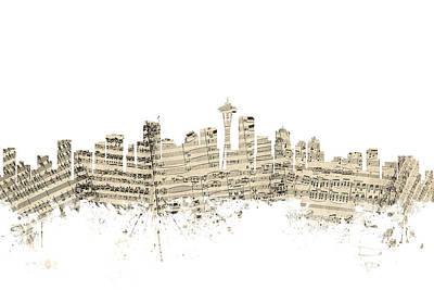 Seattle Washington Skyline Sheet Music Cityscape Poster by Michael Tompsett