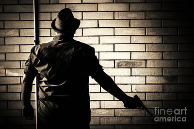 Secret Agent Silhouette About To Surrender Handgun Poster by Jorgo Photography - Wall Art Gallery