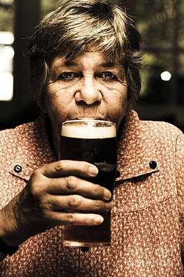 Senior Person Enjoying A Cold Beer At Bowls Club Poster by Jorgo Photography - Wall Art Gallery