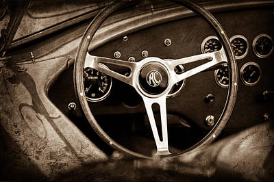 Shelby Ac Cobra Steering Wheel Emblem Poster by Jill Reger