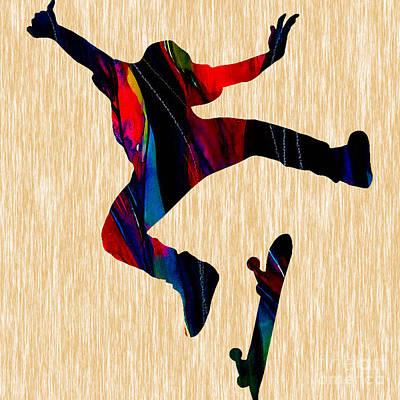 Skateboarder Art Poster by Marvin Blaine