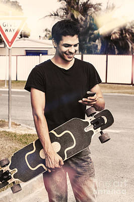 Skater Boy Sending Txt Message With A Smart-phone Poster by Jorgo Photography - Wall Art Gallery
