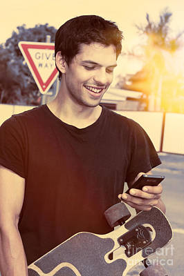 Skater Man Connecting To Mobile Social Media  Poster by Jorgo Photography - Wall Art Gallery