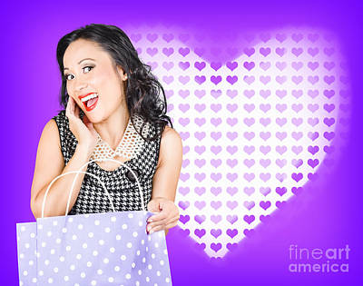 Smiling Woman With A Valentines Day Gift Bag Poster by Jorgo Photography - Wall Art Gallery