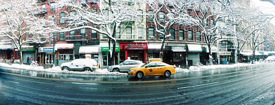Snow Covered Cars Parked On The Street Poster by Panoramic Images