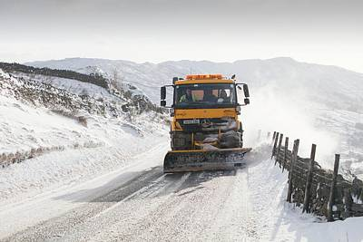 Snow Plough At Work Poster by Ashley Cooper