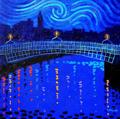 Starry Night In Dublin Poster by John  Nolan
