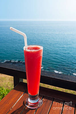 Strawberry Smoothie Soda Poster by Atiketta Sangasaeng