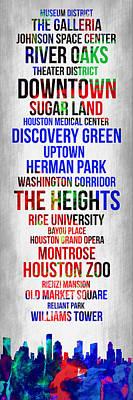 Streets Of Houston 1 Poster by Naxart Studio
