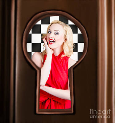 Stylish Surprised Women Portrait. Pinup Secret Poster by Jorgo Photography - Wall Art Gallery