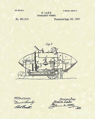 Submarine 1897 Patent Art Poster by Prior Art Design