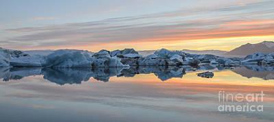 Sunset At Jokulsarlon Iceland Poster by Ning Mosberger-Tang