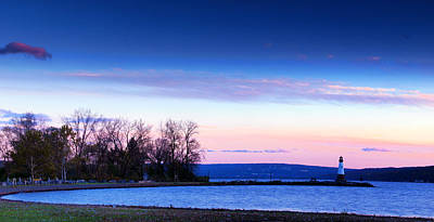 Sunset In Cayuga Lake Ithaca New York Panoramic Photography Poster by Paul Ge