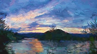 Sunset Pano - Watauga Lake Poster by Tom Culver