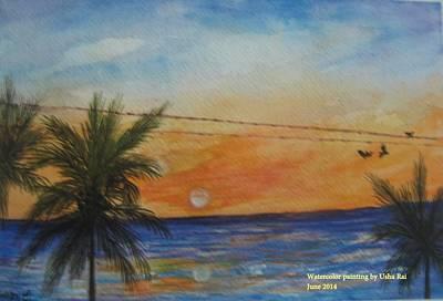Sunset Poster by Usha Rai
