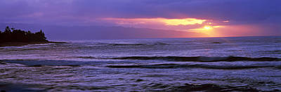 Surf In The Ocean At Sunset, Oahu Poster by Panoramic Images