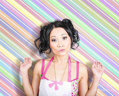 Surprised Housewife On Stripe Copyspace Poster by Jorgo Photography - Wall Art Gallery