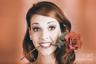 Surprised Young Woman Getting Valentine Flower Poster by Jorgo Photography - Wall Art Gallery