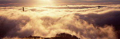 Suspension Bridge Covered With Fog Poster by Panoramic Images
