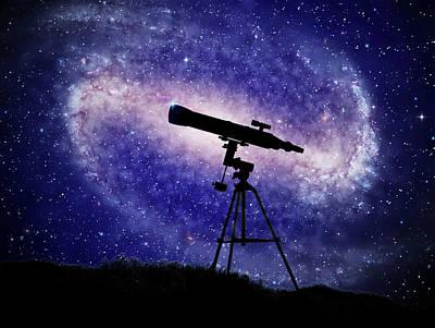 Telescope At Night Poster by Andrzej Wojcicki