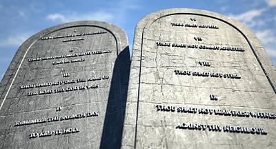 Ten Commandments Standing In The Desert Poster by Allan Swart