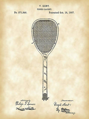 Tennis Racket Patent 1887 - Vintage Poster by Stephen Younts