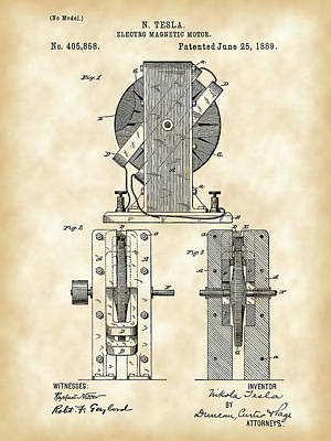 Tesla Electro Magnetic Motor Patent 1889 - Vintage Poster by Stephen Younts
