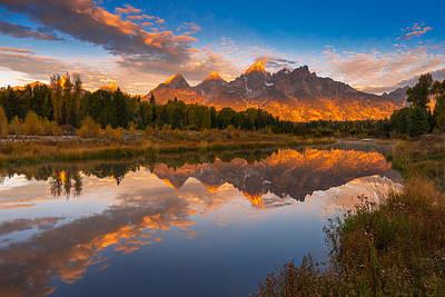 Teton Morning Mirror Poster by Joseph Rossbach