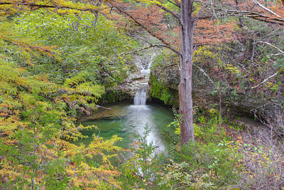 Texas Hill Country Images - Twin Falls In Autumn At Pedernales F Poster by Rob Greebon