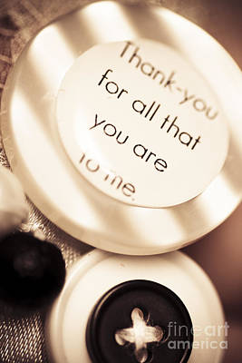 Thank You Wedding Buttons. Low Dof Macro Poster by Jorgo Photography - Wall Art Gallery