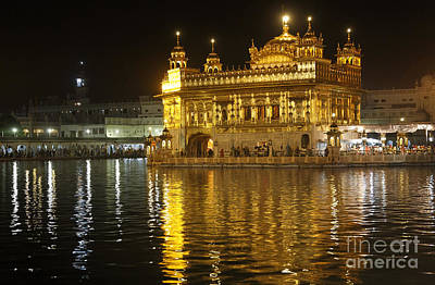The Golden Temple Of Amritsar At Night Poster by Robert Preston