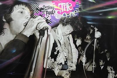 Jimi Hendrix And Jim Morrison - 'the Scene' Poster by Christian Chapman Art
