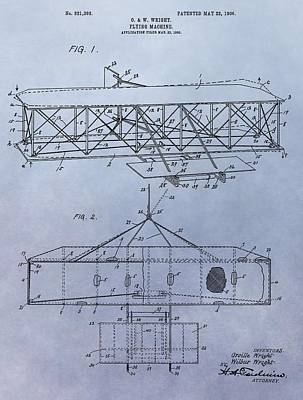 The Wright Brothers Airplane Patent Poster by Dan Sproul