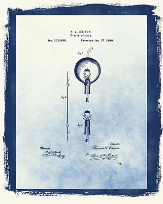 Thomas Edisons Electric Lamp Poster by Dan Sproul