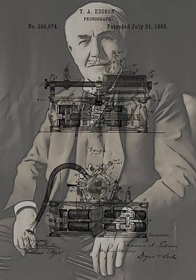 Thomas Edison's Phonograph Poster by Dan Sproul
