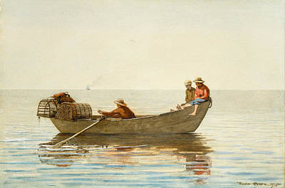 Three Boys In A Dory With Lobster Pots Poster by Winslow Homer