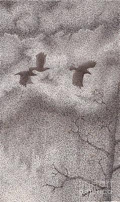 Three Crows Poster by Wayne Hardee