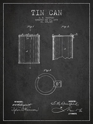 Tin Can Patent Drawing From 1878 Poster by Aged Pixel