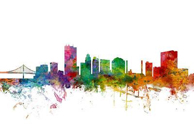 Toledo Ohio Skyline Poster by Michael Tompsett