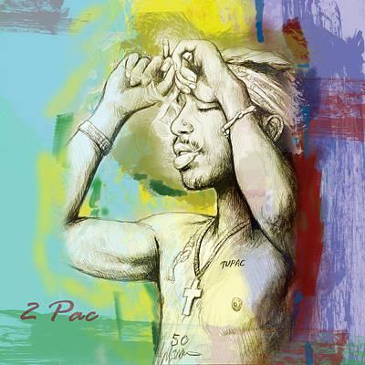Tupac Shakur Long Stylised Drawing Art Poster Poster by Kim Wang