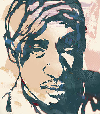 Tupac Shakur Stylised Pop Art Poster Poster by Kim Wang