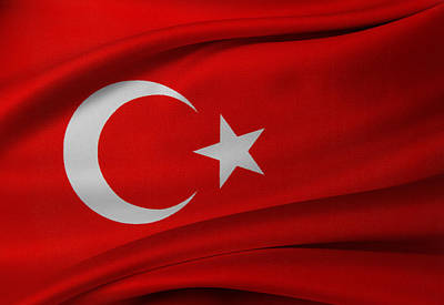 Turkish Flag Poster by Les Cunliffe