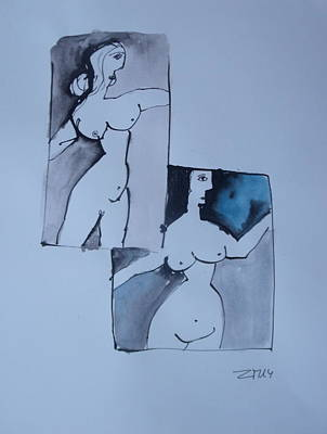 Two Nudes  Poster by Sonja  Zeltner