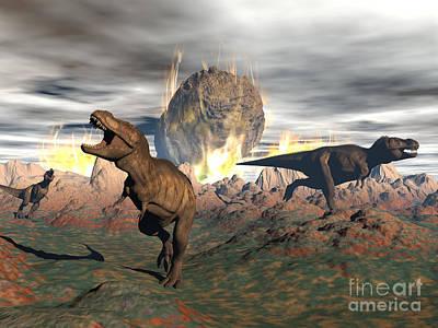 Tyrannosaurus Rex Dinosaurs Escaping Poster by Elena Duvernay