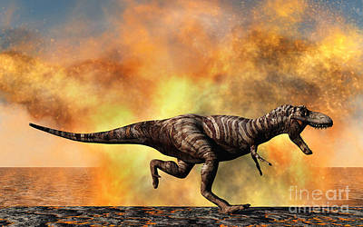 Tyrannosaurus Rex Escaping Poster by Mark Stevenson