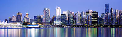 Vancouver Skyline At Night, British Poster by Panoramic Images