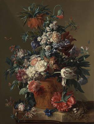 Vase Of Flowers Poster by Jan van Huysum