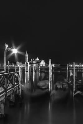 Venice San Giorgio Maggiore At Night Black And White Poster by Melanie Viola