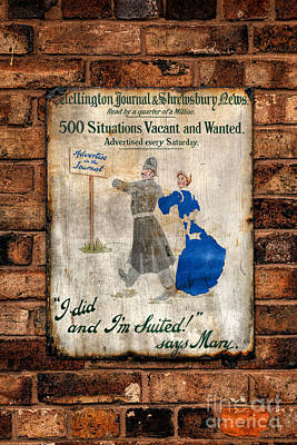 Victorian Sign Poster by Adrian Evans