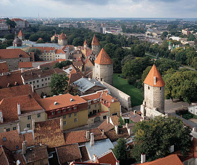 View From Above Of Old Town Tallinn Estonia Poster by Cliff Wassmann